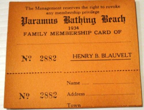 PARAMUS BATHING BEACH MEMBERSHIP CARD